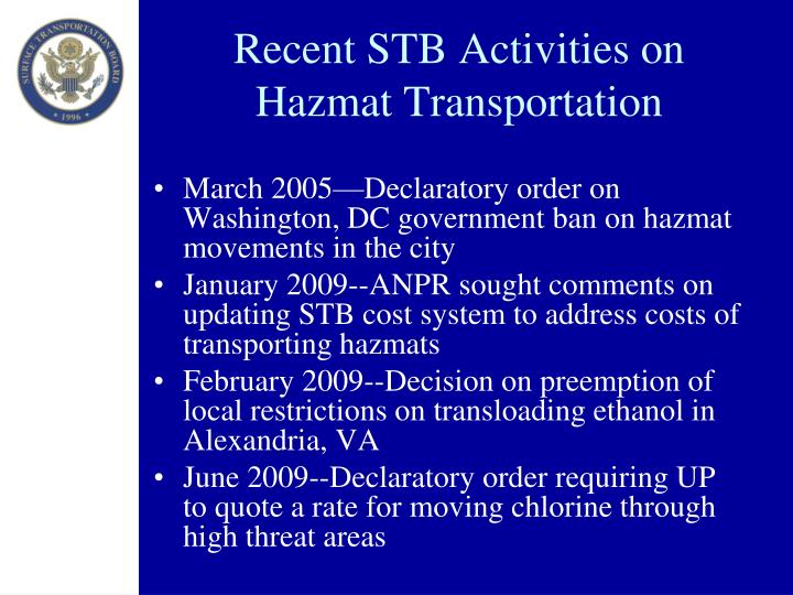 Recent STB Activities on Hazmat Transportation