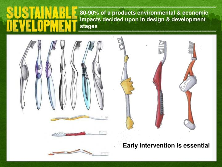 80-90% of a products environmental & economic impacts decided upon in design & development stages
