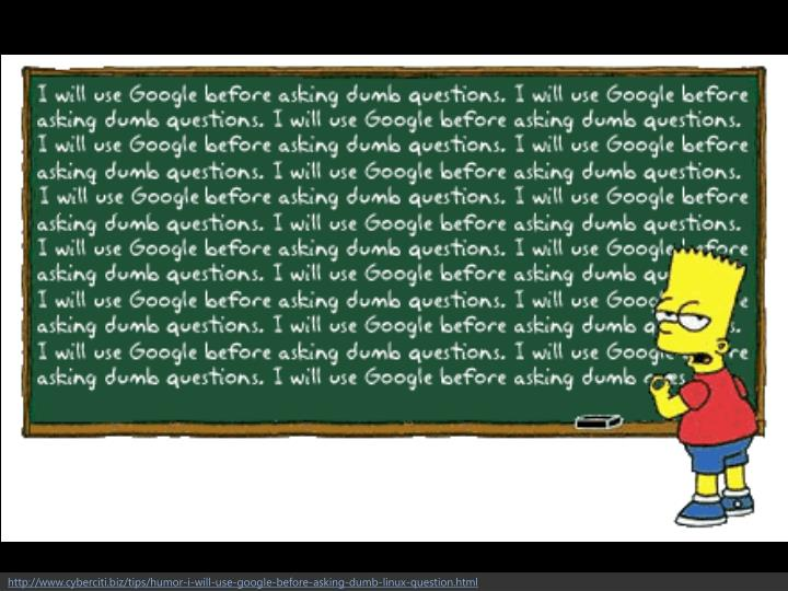 http://www.cyberciti.biz/tips/humor-i-will-use-google-before-asking-dumb-linux-question.html