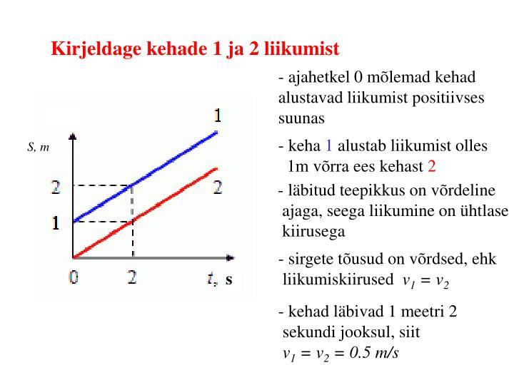 Kirjeldage kehade 1 ja 2 liikumist