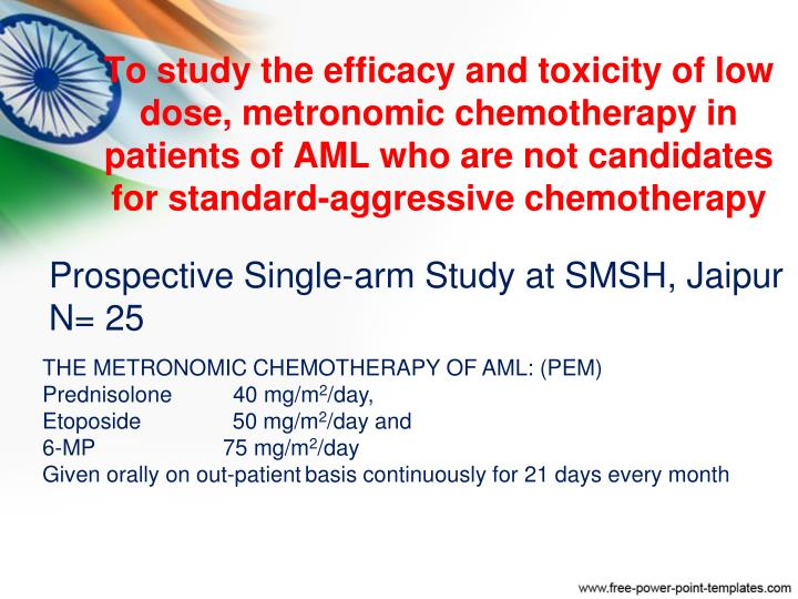 To study the efficacy and toxicity of low dose, metronomic chemotherapy in patients of AML who are not candidates for standard-aggressive chemotherapy