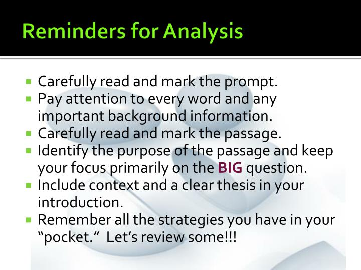 Reminders for Analysis