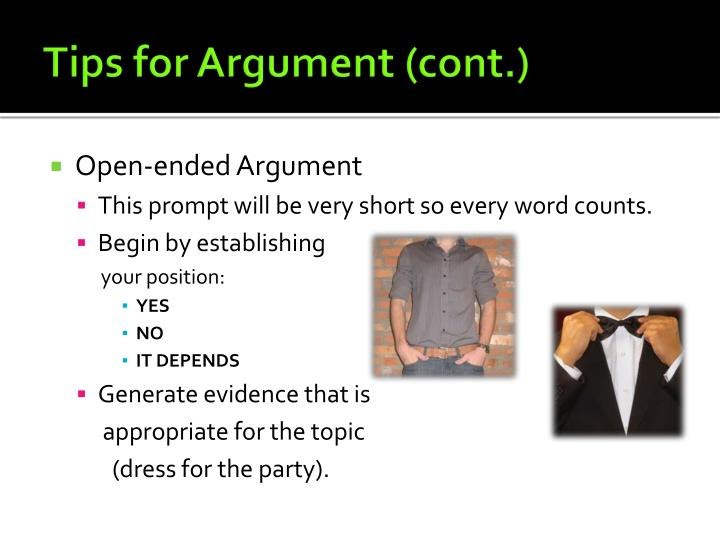 Tips for Argument (cont.)