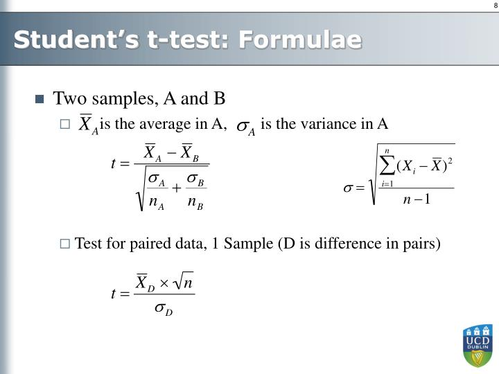 Student's t-test: Formulae