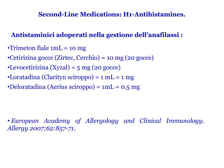 Second-Line Medications: H1-Antihistamines.