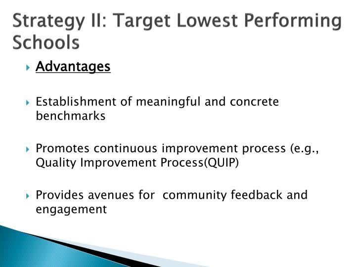 Strategy II: Target Lowest Performing Schools