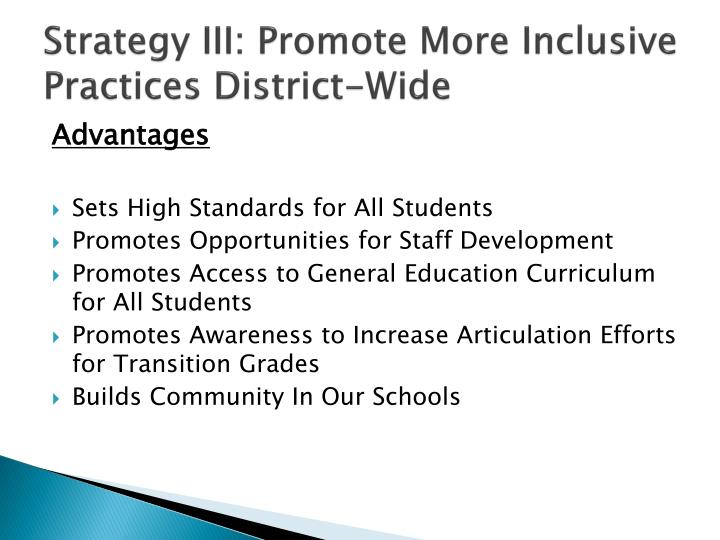 Strategy III: Promote More Inclusive Practices District-Wide