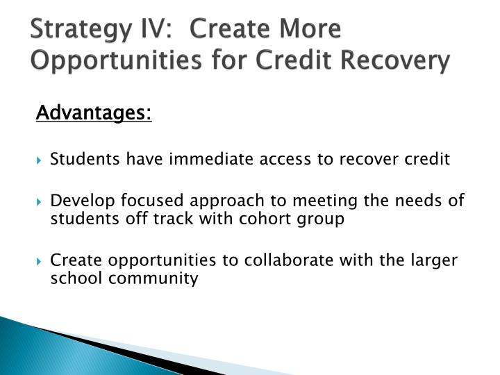 Strategy IV:  Create More Opportunities for Credit Recovery