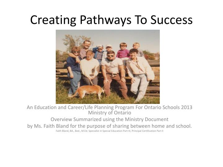 C reating pathways to success