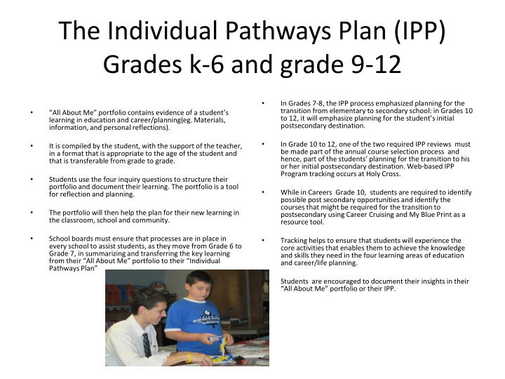 The Individual Pathways Plan (IPP) Grades k-6 and grade 9-12