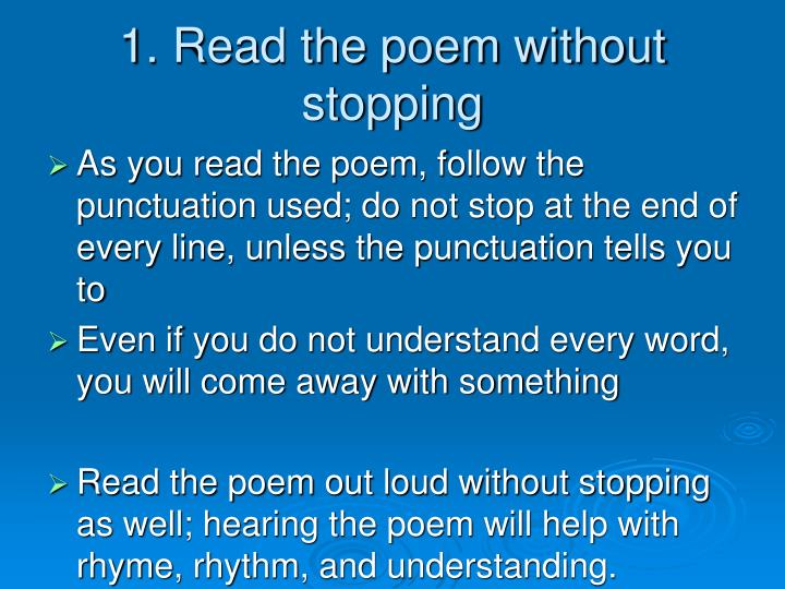 1 read the poem without stopping