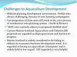 challenges to aquaculture development