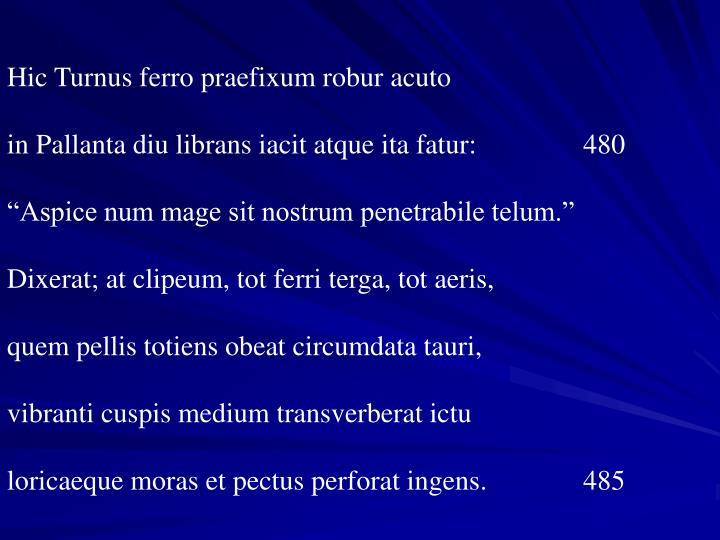 Hic Turnus ferro praefixum robur acuto