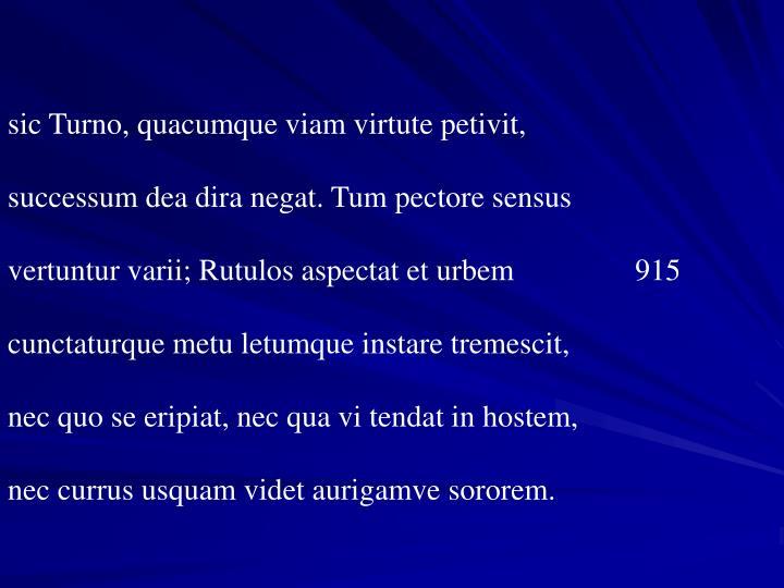 sic Turno, quacumque viam virtute petivit,