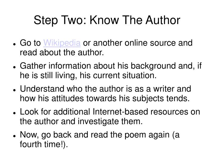 Step Two: Know The Author