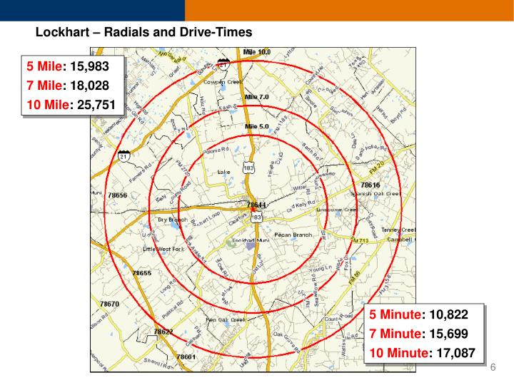 Lockhart – Radials and Drive-Times