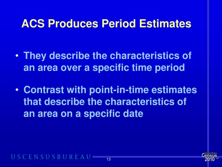 ACS Produces Period Estimates