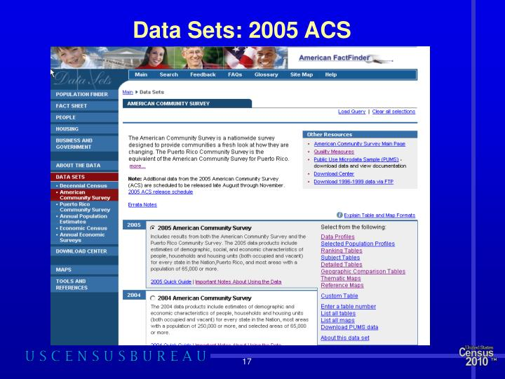 Data Sets: 2005 ACS