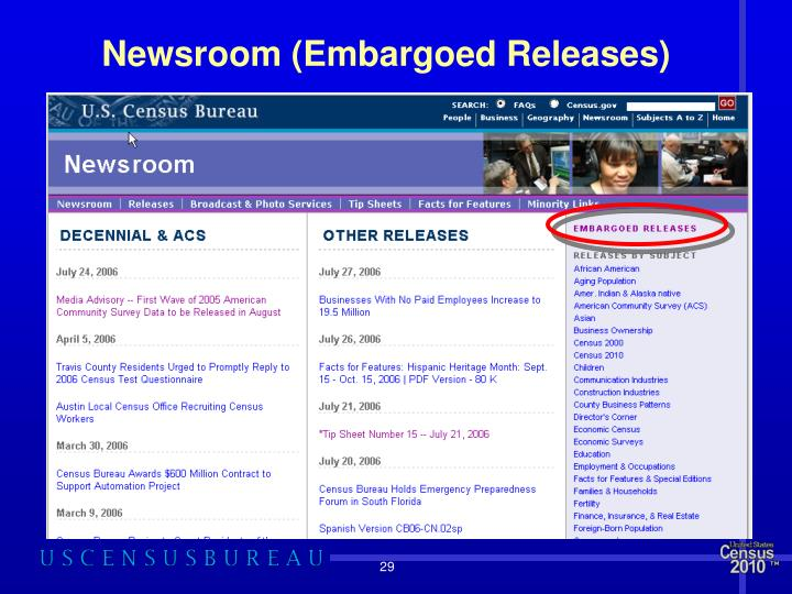Newsroom (Embargoed Releases)