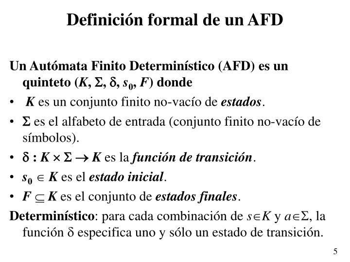 Definición formal de un AFD