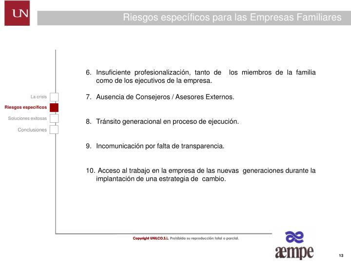 Riesgos específicos para las Empresas Familiares