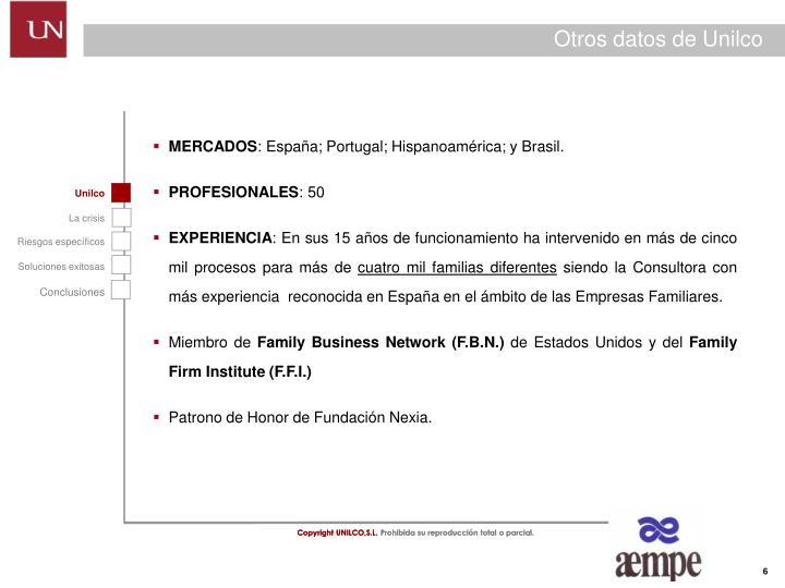 Otros datos de Unilco