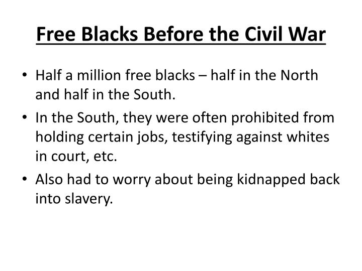 Free Blacks Before the Civil War