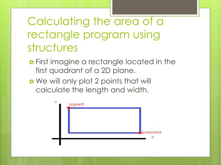 Calculating the area of a rectangle program using structures