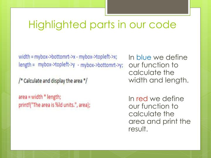 Highlighted parts in our
