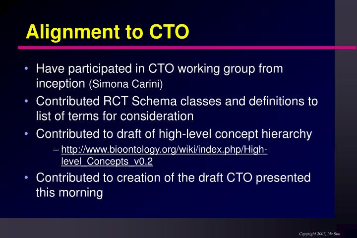 Alignment to CTO