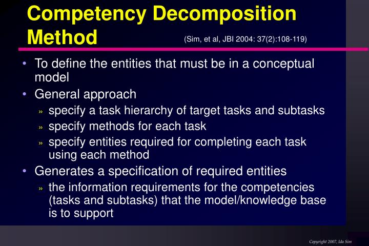 Competency Decomposition Method