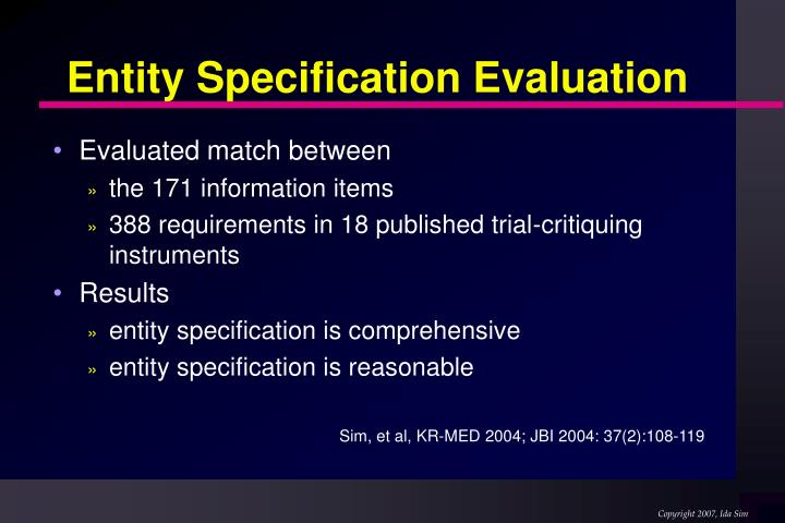 Entity Specification Evaluation