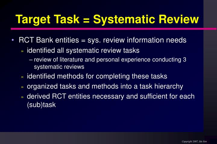Target Task = Systematic Review