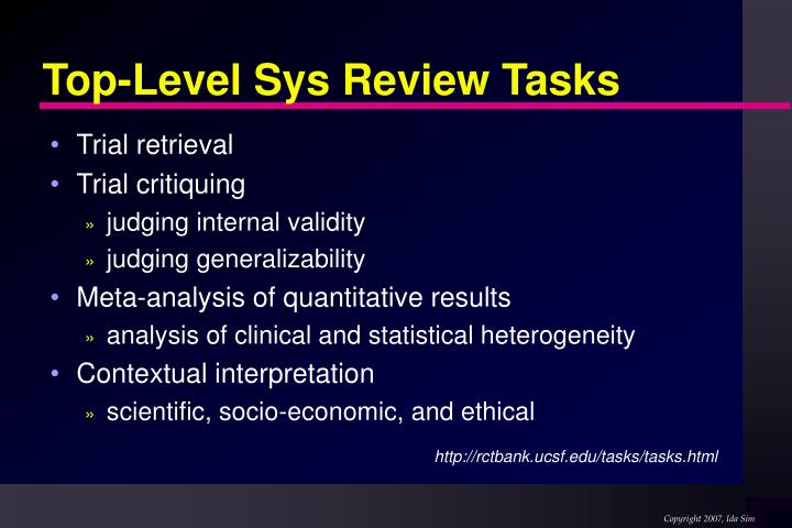 Top-Level Sys Review Tasks
