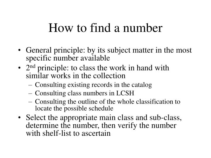How to find a number