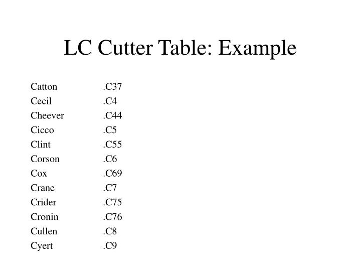 LC Cutter Table: Example