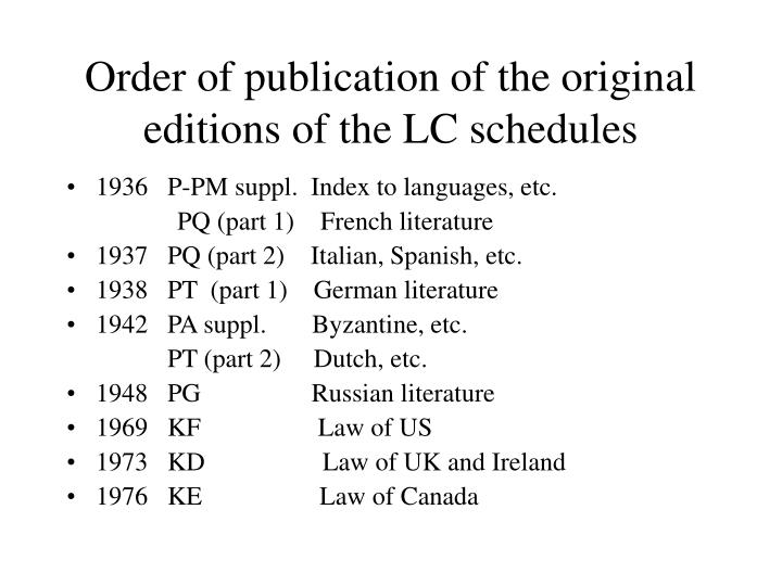 Order of publication of the original editions of the LC schedules