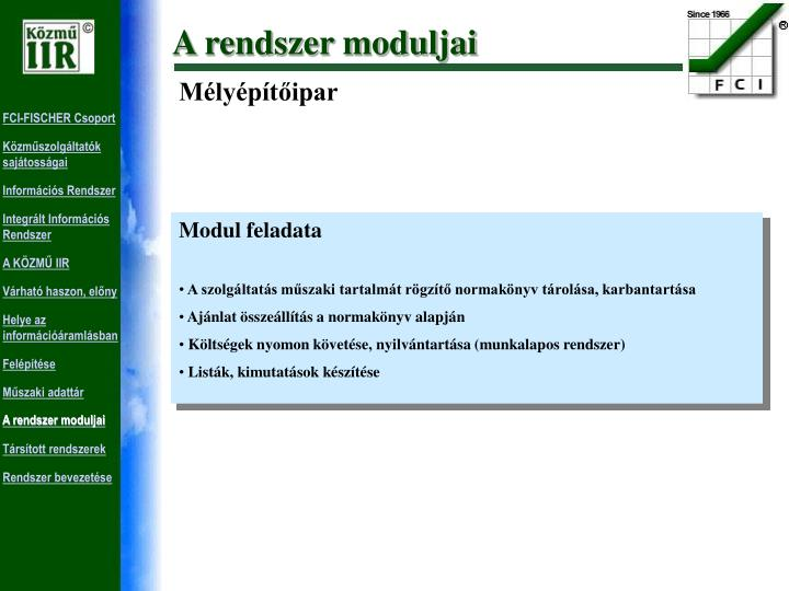 A rendszer moduljai