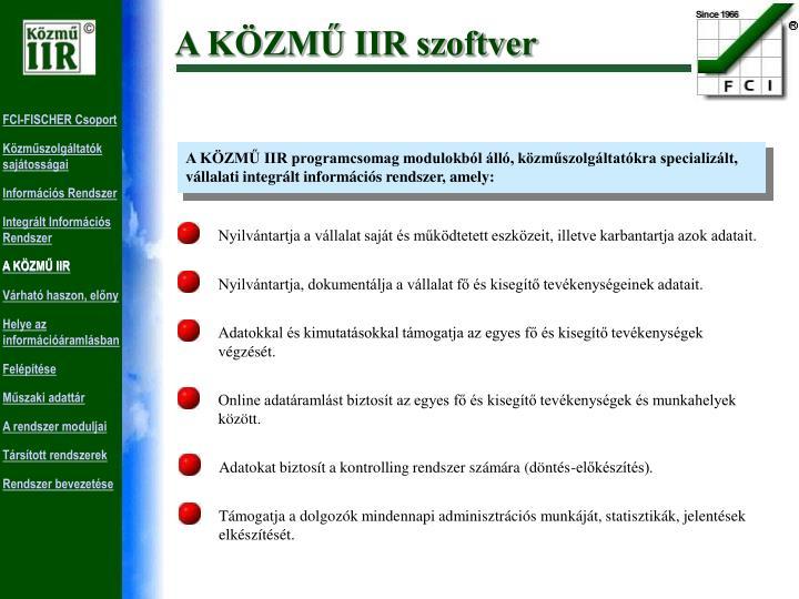 A KÖZMŰ IIR szoftver