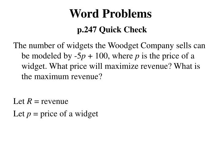 Word problems p 247 quick check1