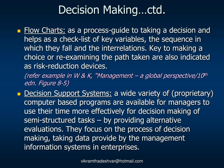 Decision Making…ctd.