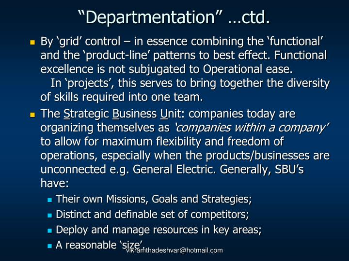 """Departmentation"" …ctd."