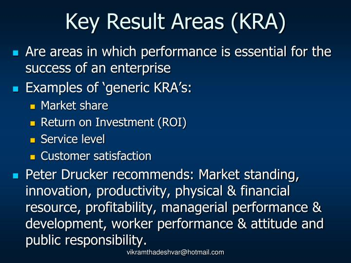 Key Result Areas (KRA)