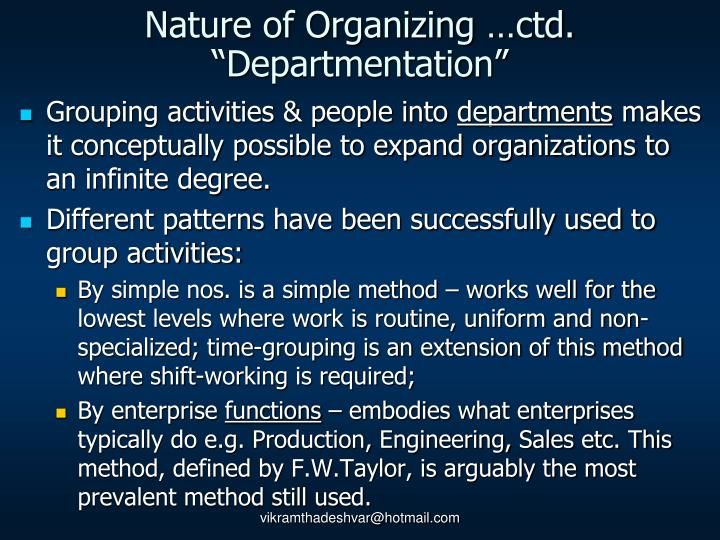 Nature of Organizing …ctd.