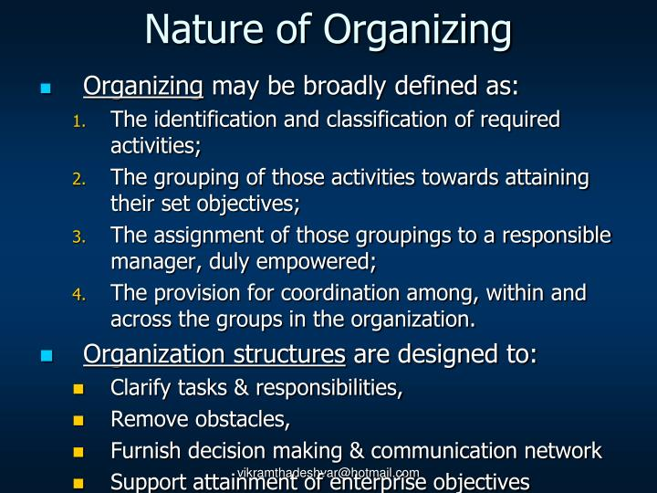 Nature of Organizing
