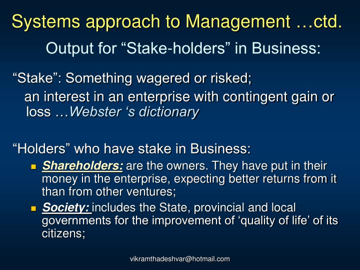 Systems approach to Management