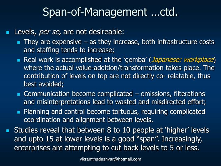 Span-of-Management …ctd.