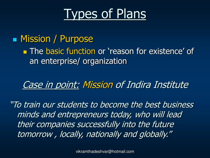 Types of Plans