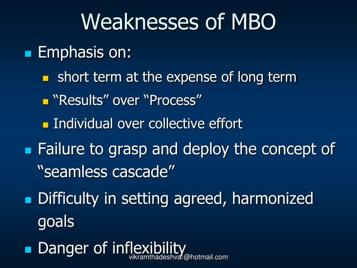 Weaknesses of MBO