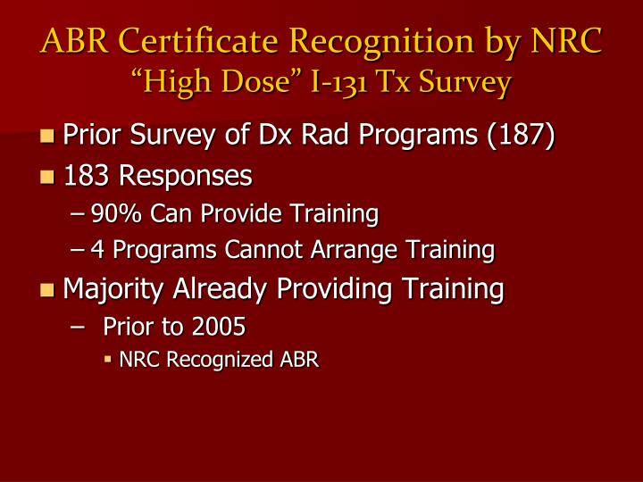 ABR Certificate Recognition by NRC
